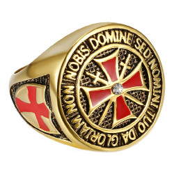 BA0177 BOBIJOO Jewelry Anillo de Moneda Caballero Templario Todo de Oro fino de Oro