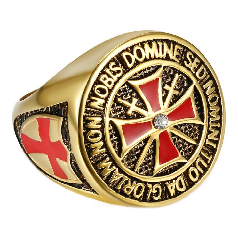 BA0177 BOBIJOO Jewelry Bague Devise Chevalier Templier Tout Or Fin Doré