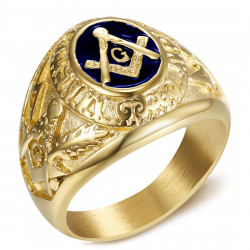 BA0020 BOBIJOO Jewelry Signet Ring freemason Master Blue Night Gold Steel