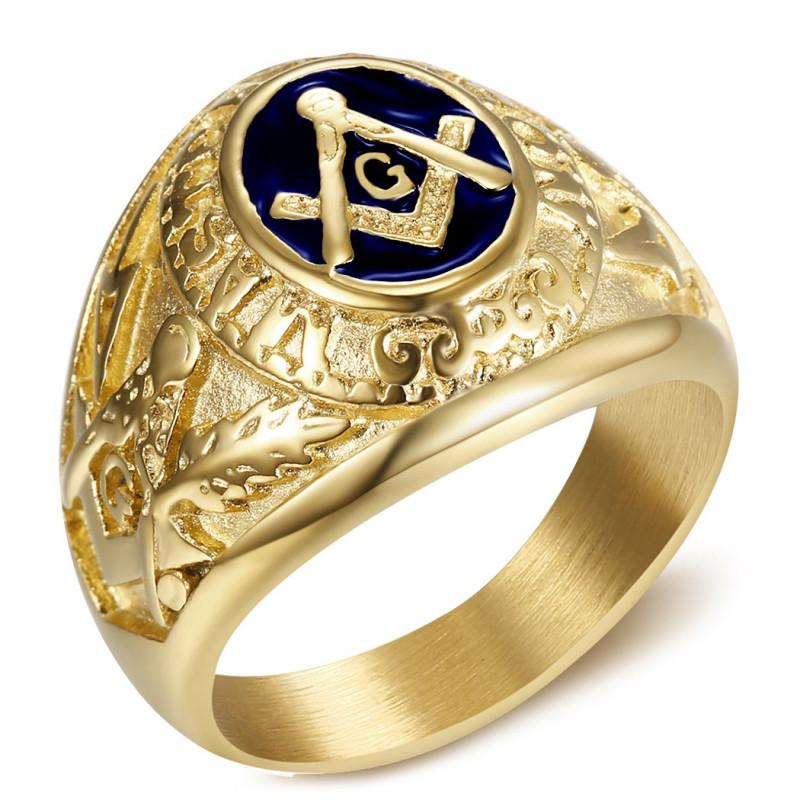 BA0020 BOBIJOO Jewelry Chevalière Bague Franc-Maçon Maître Bleu Nuit Or Acier