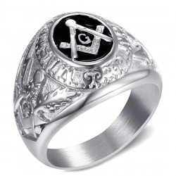 BA0021 BOBIJOO Jewelry Signet Ring freemason Master Black Silver Steel