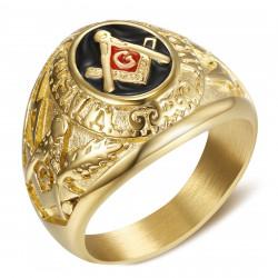 BA0022 BOBIJOO Jewelry Siegelring Ring Freimaurer-Meister Schwarz-Rot-Gold Stahl
