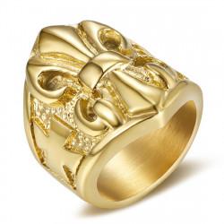 Anillo Anillo anillo de Fleur-de-Lys de Acero de Oro de los Templarios