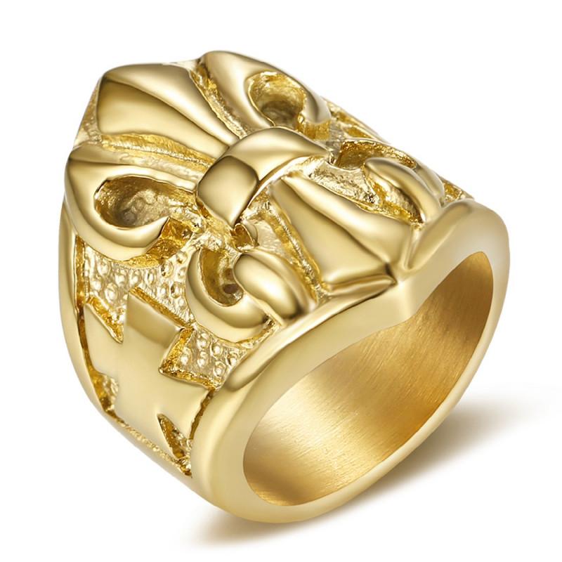 BA0024 BOBIJOO Jewelry Bague Chevalière Fleur de Lys Acier Or Templier
