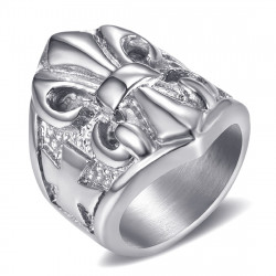 BA0196 BOBIJOO Jewelry Anillo Anillo anillo de Fleur-de-Lys de Plata de Acero Templarios