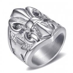 BA0196 BOBIJOO Jewelry Ring Signet ring Fleur-de-Lys Steel Silver Templar