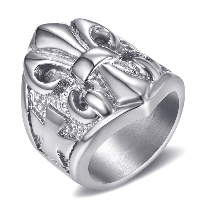 BA0196 BOBIJOO Jewelry Bague Chevalière Fleur de Lys Acier Argent Templier