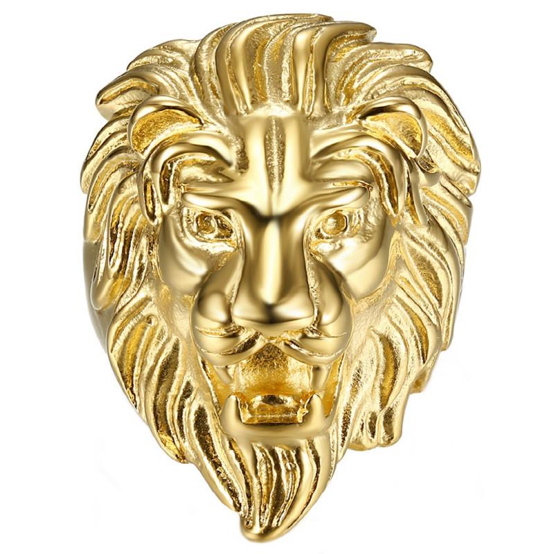 BA0208 BOBIJOO Jewelry Bague Chevalière Tête de Lion Acier Plaqué Or Homme
