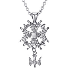 PE0155S BOBIJOO Jewelry Cross pendant Huguenot Protestant South Steel 316L + Chain