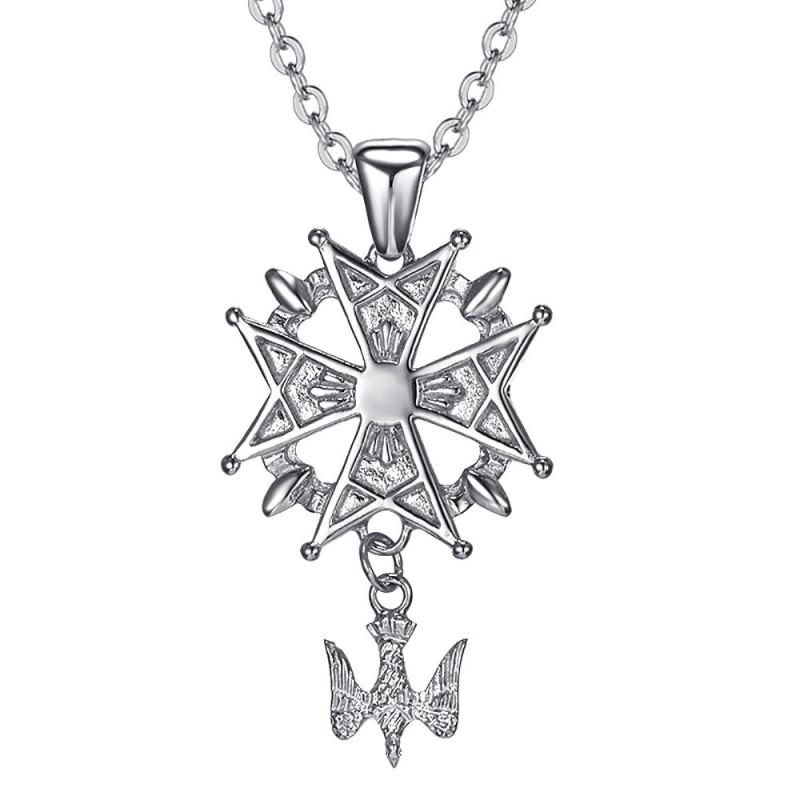 PE0155S BOBIJOO Jewelry Cruz colgante Hugonotes Protestantes del Sur de Acero 316L + de la Cadena