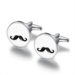 BM0039 BOBIJOO Jewelry Cufflinks, Round Blank Email to Moustache