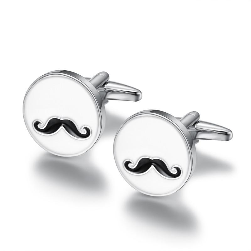 Boutons de Manchette Rond Email Blanc Moustache bobijoo