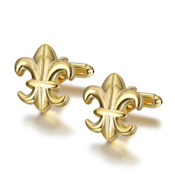 BM0040 BOBIJOO Jewelry Cufflinks Gold Fleur-de-Lys of France