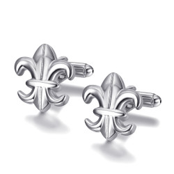 BM0041 BOBIJOO Jewelry Cufflinks Silver Fleur-de-Lys of France