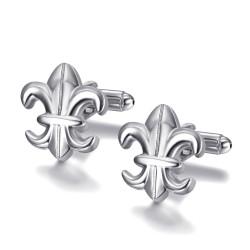 BM0041 BOBIJOO Jewelry Manschettenknöpfe Silber Fleur-de-Lys, Frankreich