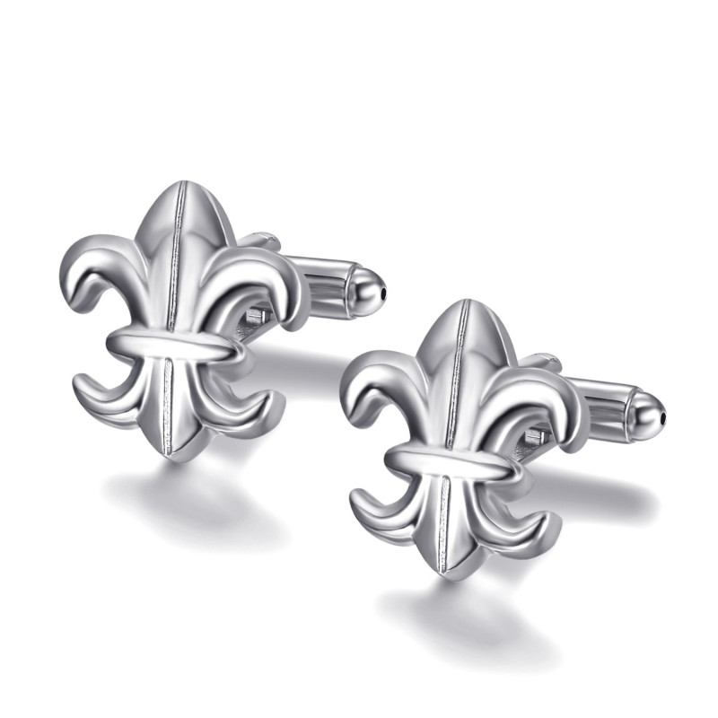 BM0041 BOBIJOO Jewelry Cufflinks Silver Fleur-de-Lys of France