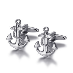 BM0045 BOBIJOO Jewelry Cufflinks Anchor Navy Silver