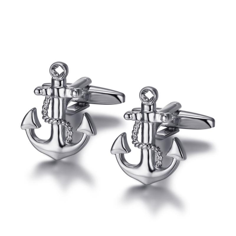 BM0045 BOBIJOO Jewelry Gemelos Ancla de la Marina de Plata
