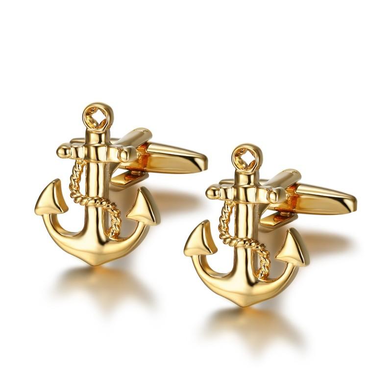 BM0044 BOBIJOO Jewelry Gemelos Ancla de la Marina de Oro