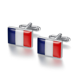 BM0046 BOBIJOO Jewelry Boutons de Manchette Drapeau FR DE ES IT UK au Choix