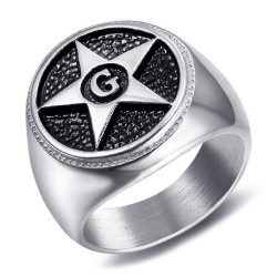 BA0374 BOBIJOO Jewelry Ring Signet Masonic Pentagram Star G