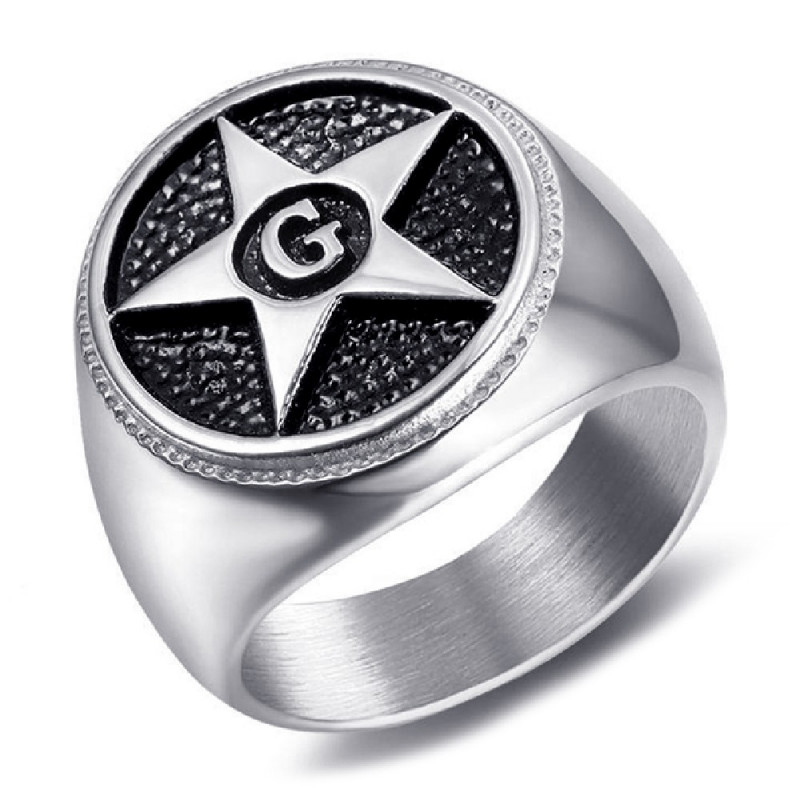 BA0374 BOBIJOO Gioielli Anello anello con Sigillo Massonica Pentagramma Star G
