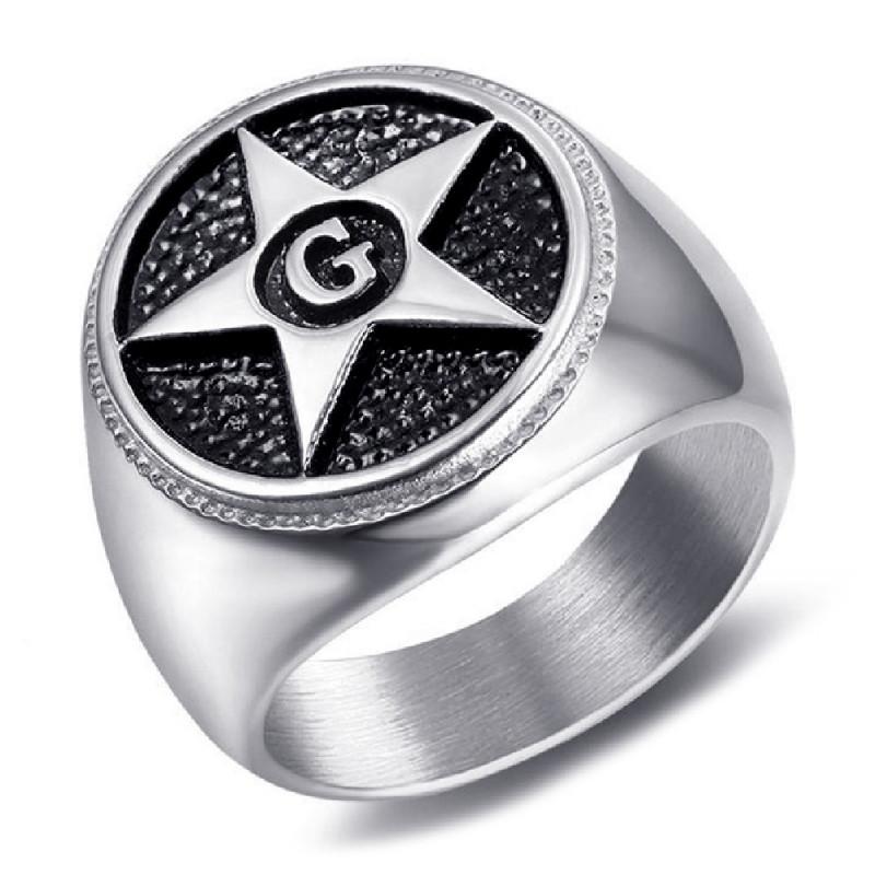 BA0374 BOBIJOO Jewelry Ring Siegelring Freimaurer-Pentagramm Stern G
