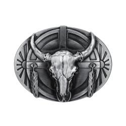 Boucle de Ceinture Crâne Taureau USA Indien bobijoo