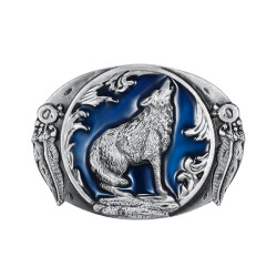 BC0005 BOBIJOO Jewelry Belt buckle Wolf at Night Blue USA Biker