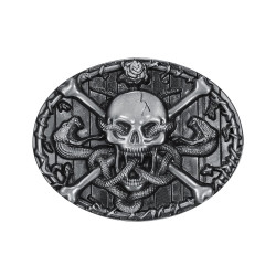 BC0011 BOBIJOO Jewelry Belt buckle Skull Crossbones Death's Head Snake