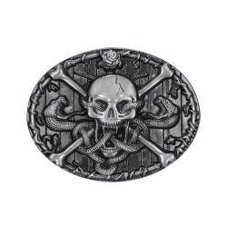 BC0011 BOBIJOO Jewelry Gürtelschnalle Schädel Wadenlang totenkopf Schlange