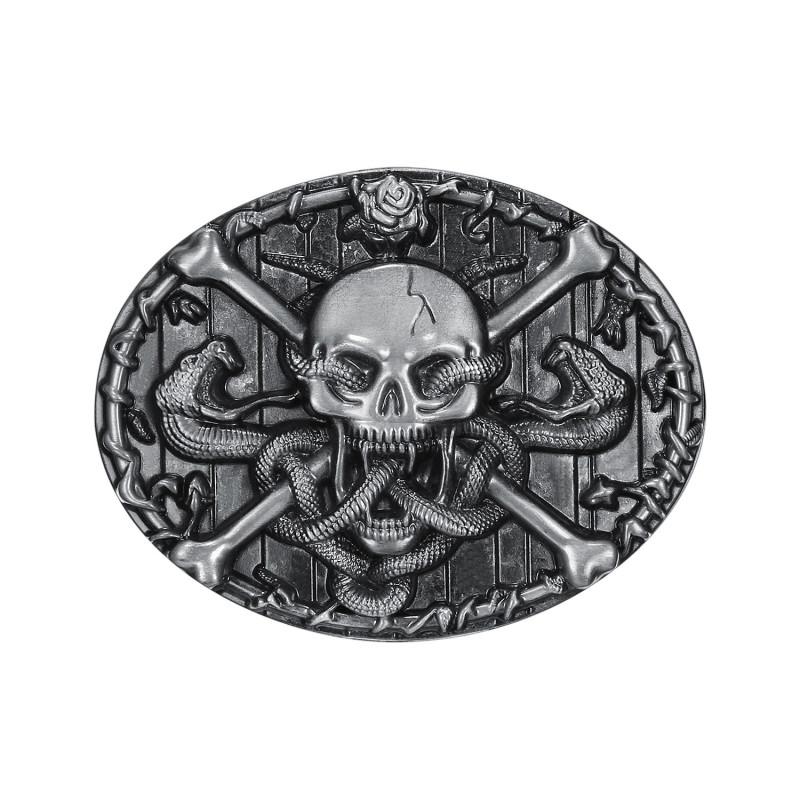 BC0011 BOBIJOO Jewelry La hebilla del cinturón de bandera pirata del Cráneo de la Muerte de la Cabeza de Serpiente