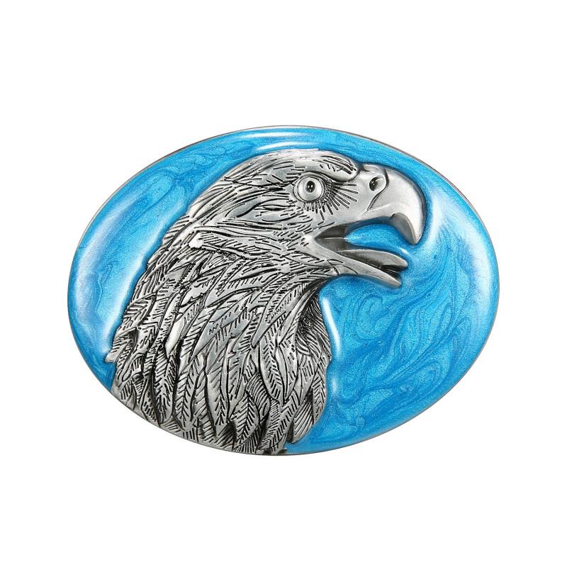 BC0015 BOBIJOO Jewelry Gürtelschnalle mit Adler Kopf hellblauem Hintergrund