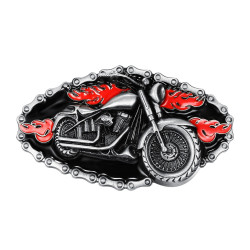 BC0016 BOBIJOO Jewelry Belt buckle Motorcycle Bike Chain, Red Fire