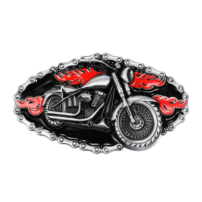BC0016 BOBIJOO Jewelry Gürtelschnalle Motorrad Bike Kette Rot Feuer