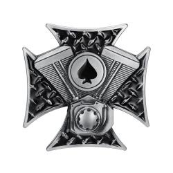 BC0018 BOBIJOO Gioielli Fibbia della Cintura Croce Templare Asso di Picche Motore bicilindrico a V