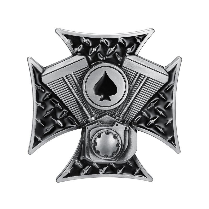 BC0018 BOBIJOO Jewelry Hebilla del cinturón de la Cruz de los Templarios As de Espadas del Motor V Twin