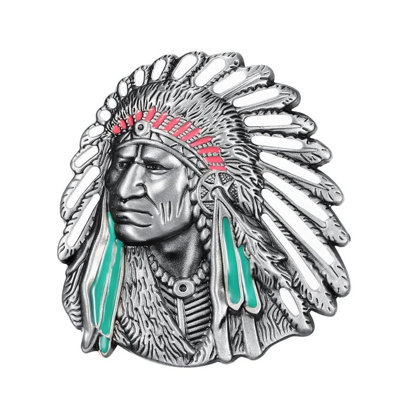 BC0022 BOBIJOO Jewelry Cinturón de bucles Busto del Indio Geronimo
