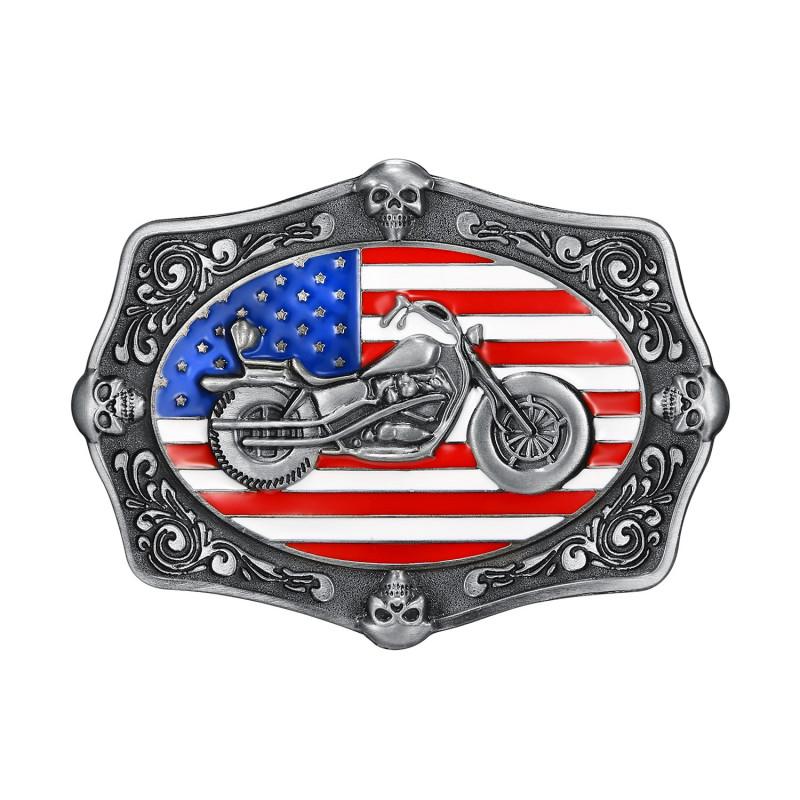 BC0029 BOBIJOO Jewelry Gürtelschnalle Motorrad USA-Flagge Schädel Biker
