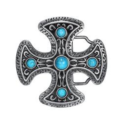 BC0031 BOBIJOO Jewelry Gürtelschnalle Kreuz Pattée Türkis