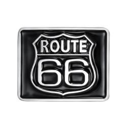 BC0032 BOBIJOO Jewelry Boucle de Ceinture Carrée Route 66 Email Noir