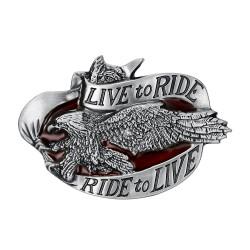 BC0035 BOBIJOO Jewelry La hebilla del cinturón de Live To Ride Águila Motorista de la