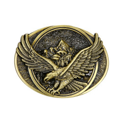 BC0038 BOBIJOO Jewelry Gürtelschnalle, Adler, Berg, Straße, USA Bronze