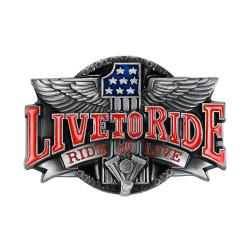 BC0041 BOBIJOO Gioielli Fibbia della Cintura Live To Ride Bandiera USA