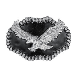 BC0042 BOBIJOO Jewelry Belt buckle Eagle Silver USA Email Black
