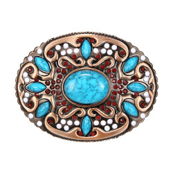 BC0045 BOBIJOO Jewelry Belt buckle Oval Turquoise Bronze