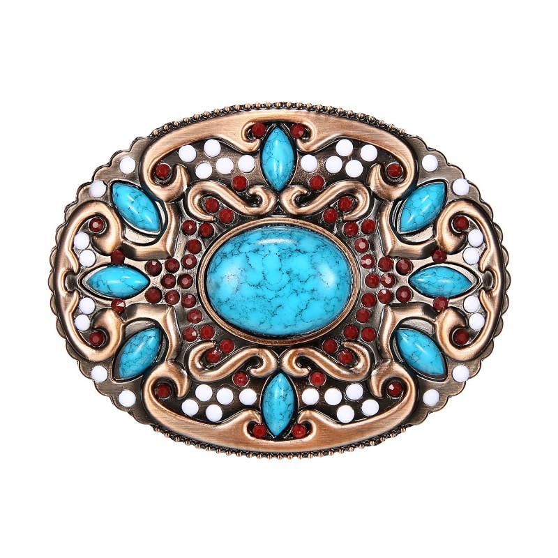 BC0045 BOBIJOO Jewelry Boucle de Ceinture Ovale Turquoises Bronze