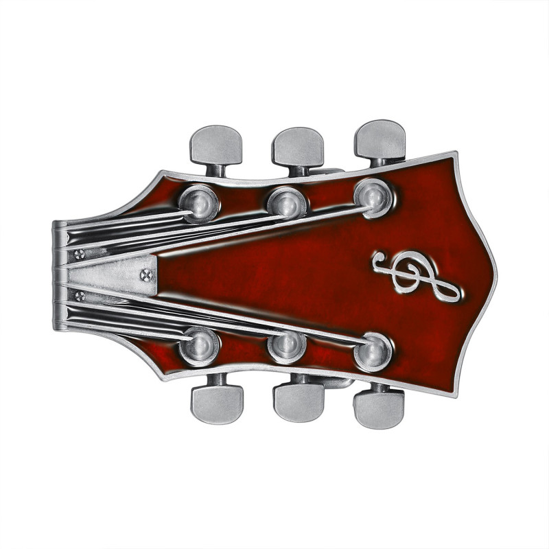 BC0049 BOBIJOO Jewelry Boucle de Ceinture Guitare Electrique Rock Rouge