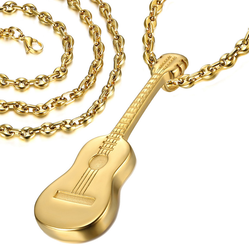 PE0175B LE BAGACIER Pendant Guitar Traveller Gipsy Steel Gold + Chain Coffee