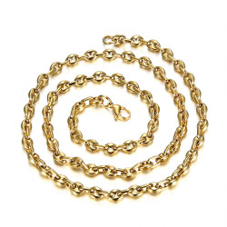 COH0021 BOBIJOO Jewelry High quality steel and gold coffee bean chain
